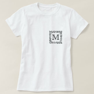 Black and White Custom Monogram Leopard Print. T-Shirt
