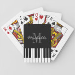 "Black and white custom monogrammed piano keys playing cards<br><div class=""desc"">Black and white custom monogrammed piano keys playing cards gift idea for pianists. Make your own unique present for musicians, piano teacher, student, piano player, instructor, friend etc. Classy keyboard design with stylish script typography monogram logo. Elegant classical music theme game cards for him or her. Cute Birthday, Holiday or...</div>"