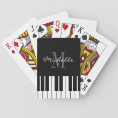 Black And White Custom Monogrammed Piano Keys Playing Cards at Zazzle