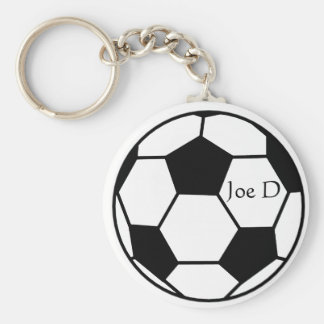 Black and White Custom Soccer Football Keychain