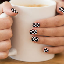 black and white customizable checkered pattern minx nail wraps