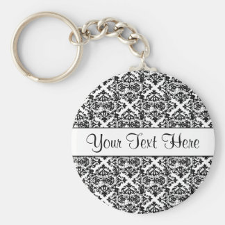 Black and White Customizable Design Basic Round Button Keychain
