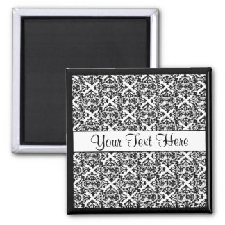 Black and White Customizable Design 2 Inch Square Magnet