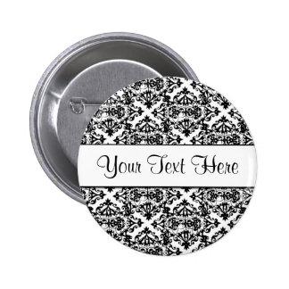 Black and White Customizable Design Pinback Button