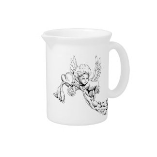 Black and white Cute Angel with heart Drink Pitchers