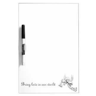 Black and white Cute Angel with heart Dry-Erase Board