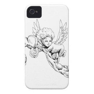 Black and white Cute Angel with heart iPhone 4 Cases