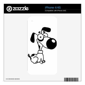 Black and white cute cartoon Dog iPhone 4S Skins