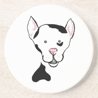 Black and White Cute Dog Cartoon Coaster