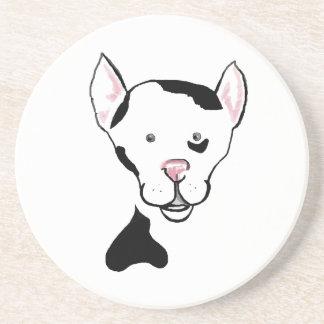 Black and White Cute Dog Cartoon Coaster