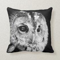 Black and White Cute Owl Lovers Bird Animal Owlet Throw Pillow