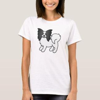 Black And White Cute Papillon Cartoon Dog T-Shirt