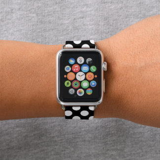 Black And White Cute Polka Dot Pattern Apple Watch Band