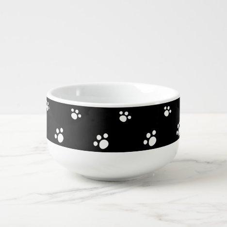 Black And White Cute Puppy Dog Paw Print Pattern Soup Mug