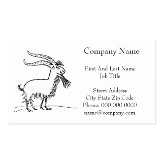 Black and White Cute Smiling Goat Cartoon Double-Sided Standard Business Cards (Pack Of 100)