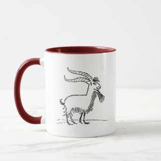 Black and White Cute Smiling Goat Cartoon Mug