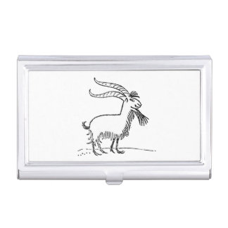 Black and White Cute Smiling Goat Cartoon Business Card Holder