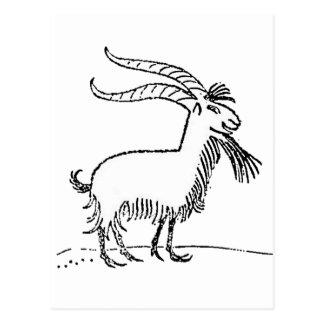 Black and White Cute Smiling Goat Cartoon Postcard