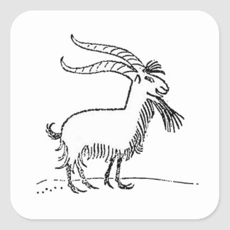 Black and White Cute Smiling Goat Cartoon Square Sticker