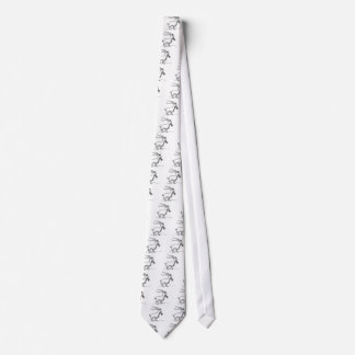 Black and White Cute Smiling Goat Cartoon Tie
