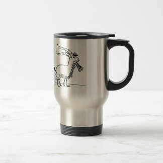 Black and White Cute Smiling Goat Cartoon Travel Mug