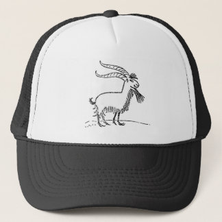 Black and White Cute Smiling Goat Cartoon Trucker Hat