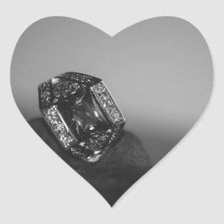 Black and White CZ Ring Heart Sticker