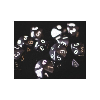 Black and White d10 RPG dice canvas