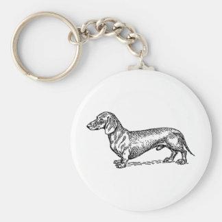 Black and White Dachshund Wiener Dog Keychain