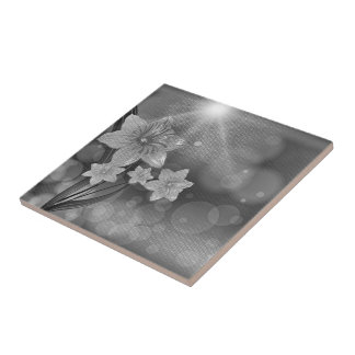 Black And White Daffodil Flower Square Tile