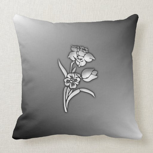 Black And White Daffodil Throw Pillow Zazzle