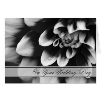 Black and White Dahlia Blended Family Wedding Card