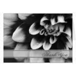 Black and White Dahlia Flower Thank You Card