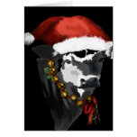 Black and White Dairy Cow for Christmas Greeting Card
