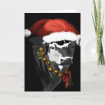 Black and White Dairy Cow for Christmas Holiday Card
