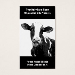 Cow business cards templates zazzle black and white dairy cow for milk operation business card colourmoves