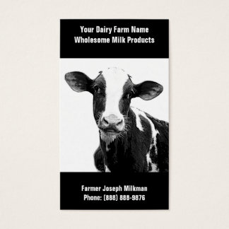 Black and White Dairy Cow for Milk Operation Business Card