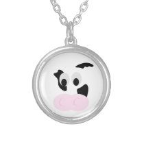 Black and White Dairy Cow or Bovine's face Silver Plated Necklace