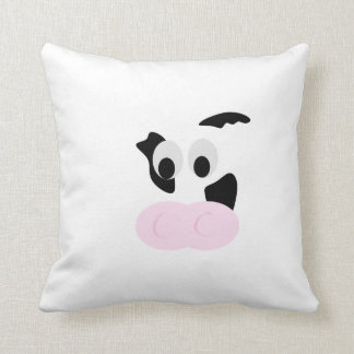 Black and White Dairy Cow or Bovine's face Throw Pillow