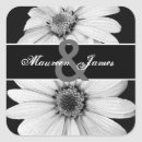 Black and White Daisies Bride and Groom Wedding Square Stickers