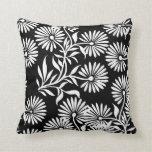 Black and White Daisies Throw Pillows