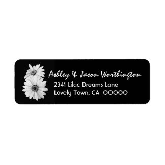 Black and White Daisies Wedding Y301 Label