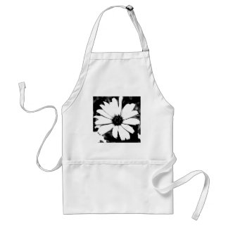 Black and White Daisy Adult Apron