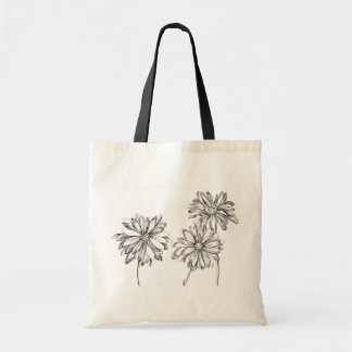 Black and White Daisy Flowers Ink Drawing Tote Bag
