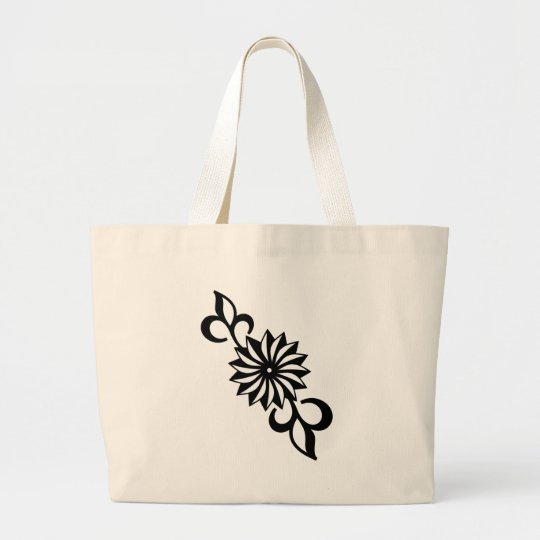 Black and White Daisy Large Tote Bag