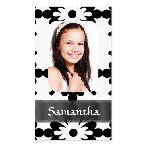 Black and white daisy pattern business card