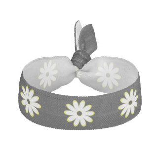 Black and White Daisy Pattern Hair Tie