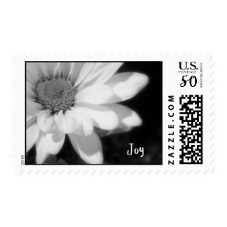 black and white daisy with the name Joy Postage