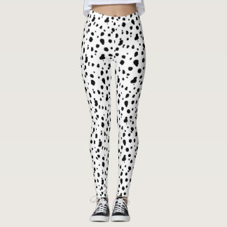 Black and White Dalmatian Print Leggings