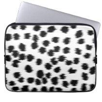 Black and White Dalmatian Print Pattern. Computer Sleeve